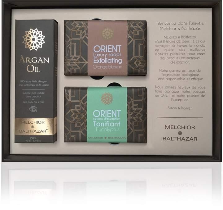 Melchior & Balthazar - Exception Gift Box (pure 50 ml Argan Oil bottle + Luxury Tonifying Eucalyptus and Exfoliating Orange Blossom Creamy Soaps)