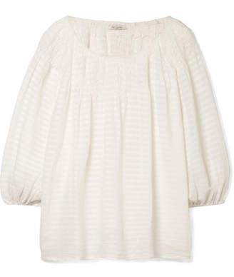 Mes Demoiselles Adriatic Smocked Striped Cotton-gauze Top - White