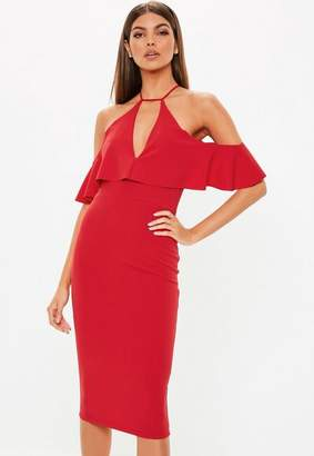 Missguided Red Cami Cold Shoulder Midi Dress
