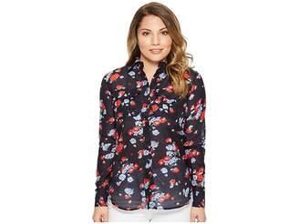 Lauren Ralph Lauren Petite Floral Crinkled Cotton Shirt Women's Clothing