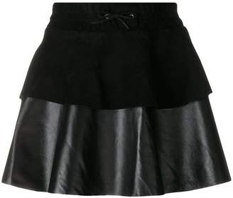 Filles a papa ruffled leather mini skirt