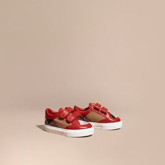 Burberry House Check and Leather Trainers $175 thestylecure.com