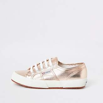 River Island Superga rose gold lace-up trainers