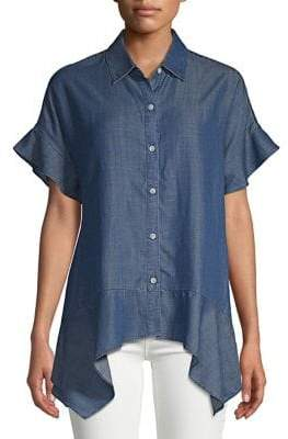 Lord & Taylor Sofia Denim Asymmetric Shirt