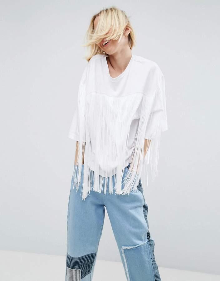 AsosASOS White ASOS WHITE Fringe Detail T-Shirt