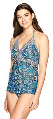 Coastal Blue Women's Swimwear Halter Neck Empire Waist Tankini Top