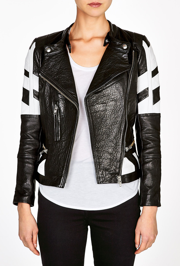 IRO Limited Edition Hyde Black And White Leather Biker Jacket By