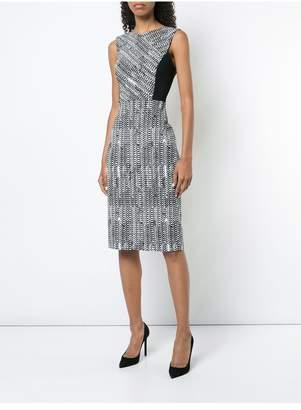 Jason Wu Herringbone Jacquard V Neck Day Dress