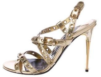 Tom Ford Embellished Leather Sandals Gold Embellished Leather Sandals