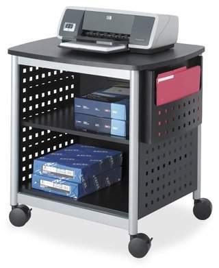Safco Scoot Desk Side Hole Pattern Printer Stand, Black, Silver