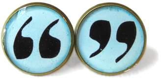 Factory Snark Blue Grammar Police Quotation Stud Earrings