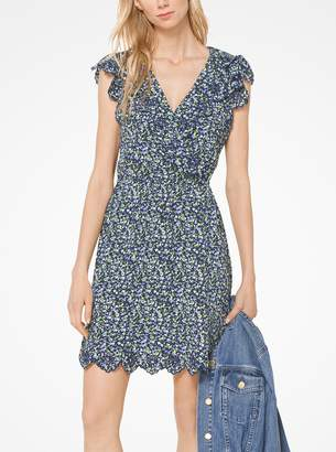 MICHAEL Michael Kors Scalloped Floral Crepe Dress