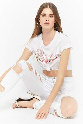 Forever 21 Distressed Cutout Jeans
