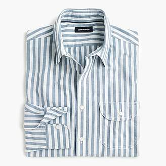 Slub poplin cotton shirt in stripe