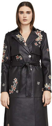 BCBGMAXAZRIA Alix Faux-Leather Embroidered Trench
