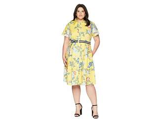 Donna Morgan Plus Size Floral Cotton Polin Shirtdress