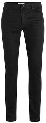 Topman Mens Black Oil Coated Stretch Slim Fit Jeans