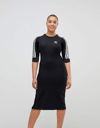 Adidas adidas Originals Black Three Stripe Midi Dress $60 thestylecure.com