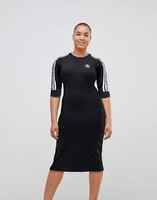 adidas Black Three Stripe Midi Dress