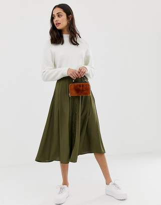 Asos DESIGN button front floaty midi skirt with pleats