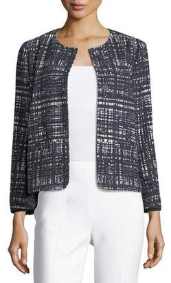 Escada Weave-Print Collarless Jacket