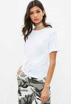Missguided White Ring Detail Jersey Top