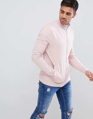 Asos DESIGN muscle jersey track jacket in pink
