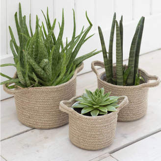 The Little House Shop Set Of Three Woven Plant Pot Baskets