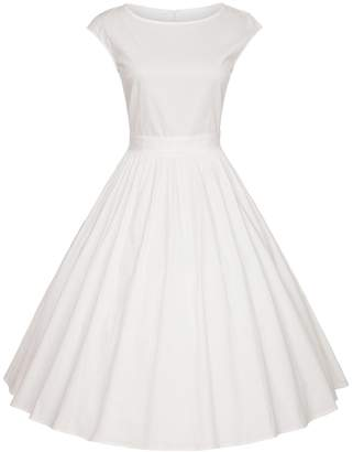 DAROJ Women 1950's Vintage Classy Hepburn Style Cap Sleeve Bridesmaid Dress XXL