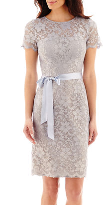 Jackie Jon Short-Sleeve Metallic Lace Sheath Dress $100 thestylecure.com