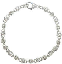 """Judith Ripka Sterling 100-Facet Diamonique 11""""Ankle Bracelet"""