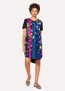 Paul Smith Women's Navy 'Floral Stripes' Print Jersey Dress