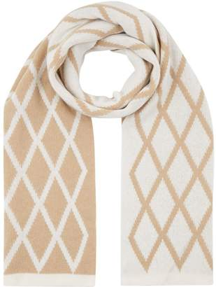 Max Mara Diamond Pattern Wool Scarf