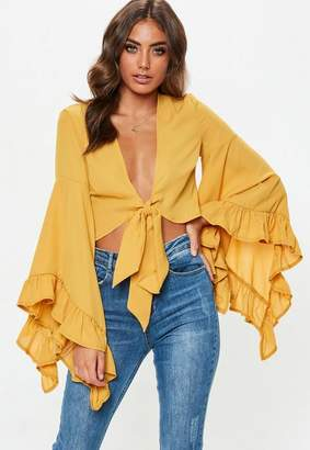 Missguided Mustard Extreme Flare Sleeve Tie Front Crop Top
