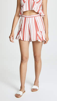 MinkPink Stripe Fluted Shorts