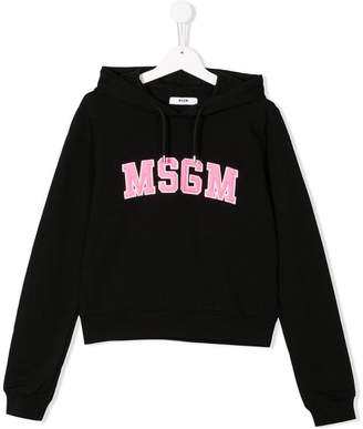 MSGM Kids TEEN logo embroidered hoodie