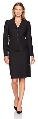 Le Suit Women's Geo Jacquard 3 Button Skirt Suit