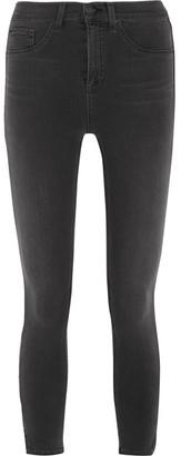 rag & bone - The Capri Cropped High-rise Skinny Jeans - Gray $215 thestylecure.com