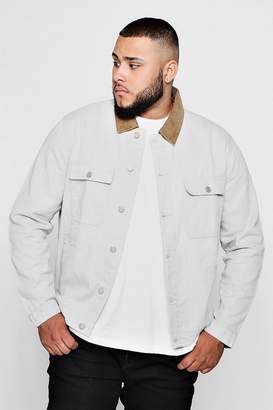 boohoo Big And Tall Stone Cord Collar Denim Jacket