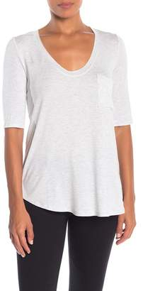H By Bordeaux Elbow Sleeve Pocket Scoop Neck Tee (Regular & Plus Size)