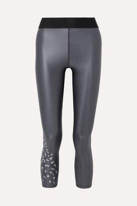 Heroine Sport - Luminous Printed Metallic Stretch Leggings - Charcoal