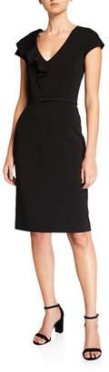 Kate Spade V-Neck Cap-Sleeve Ruffle Matte Crepe Sheath Dress