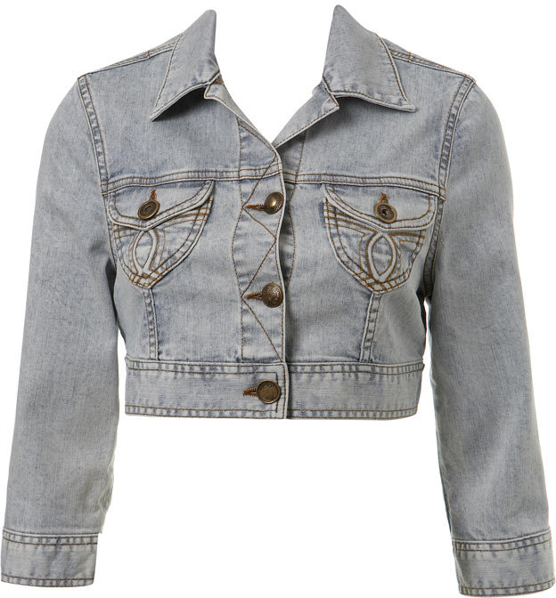 Acid Wash Denim Cropped Jacket