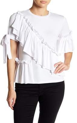 Romeo & Juliet Couture Ruffled Tie Sleeve Jersey Top