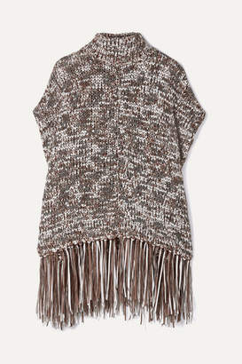 Brunello Cucinelli Fringed Sequined Chunky-knit Turtleneck Poncho - Brown