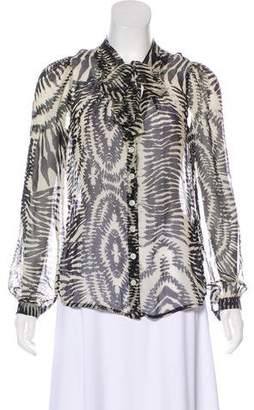 Twelfth Street By Cynthia Vincent Silk Printed Button-Up