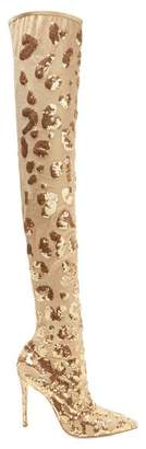 Gianvito Rossi - Sequin Embellished 105 Over The Knee Boots - Womens - Gold