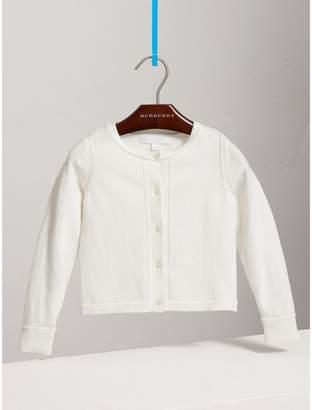 Burberry Check Cuff Cotton Knit Cardigan