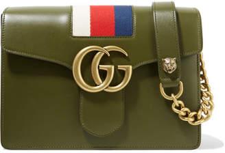 Gucci Gg Marmont Striped Canvas-trimmed Leather Shoulder Bag