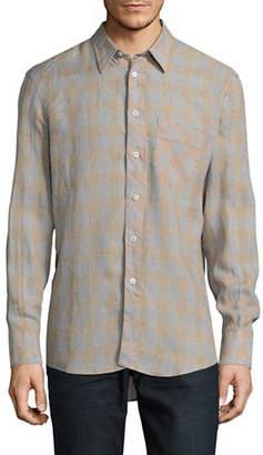 Billy Reid Tonal Plaid Linen Sport Shirt
